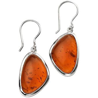 Beginnings Amber Abstract Earrings - Amber/Silver