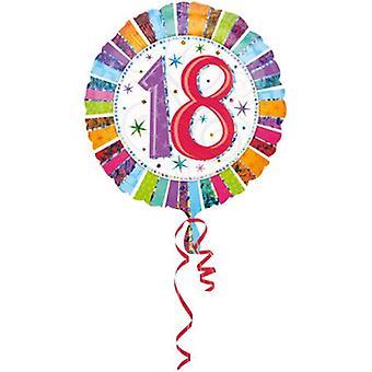 Helium Partyballon Motiv 18 mit Holographie Effekt 45 cm Geburtstagsballon