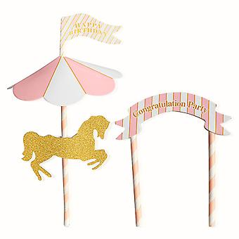 TRIXES Carousel Horse Happy Birthday Decorative Cake Topper Pink and White with Banner and Flag