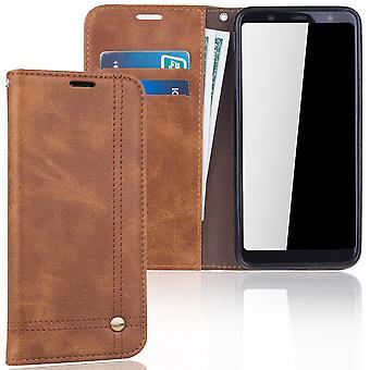 Mobiltelefon täcker fallet för Samsung Galaxy A6 plus 2018 täcka Wallet case Brown