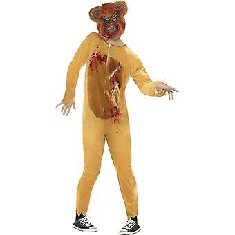 Deluxe Zombie Teddy Bear Costume, Brown, with Bodysuit & EVA Mask