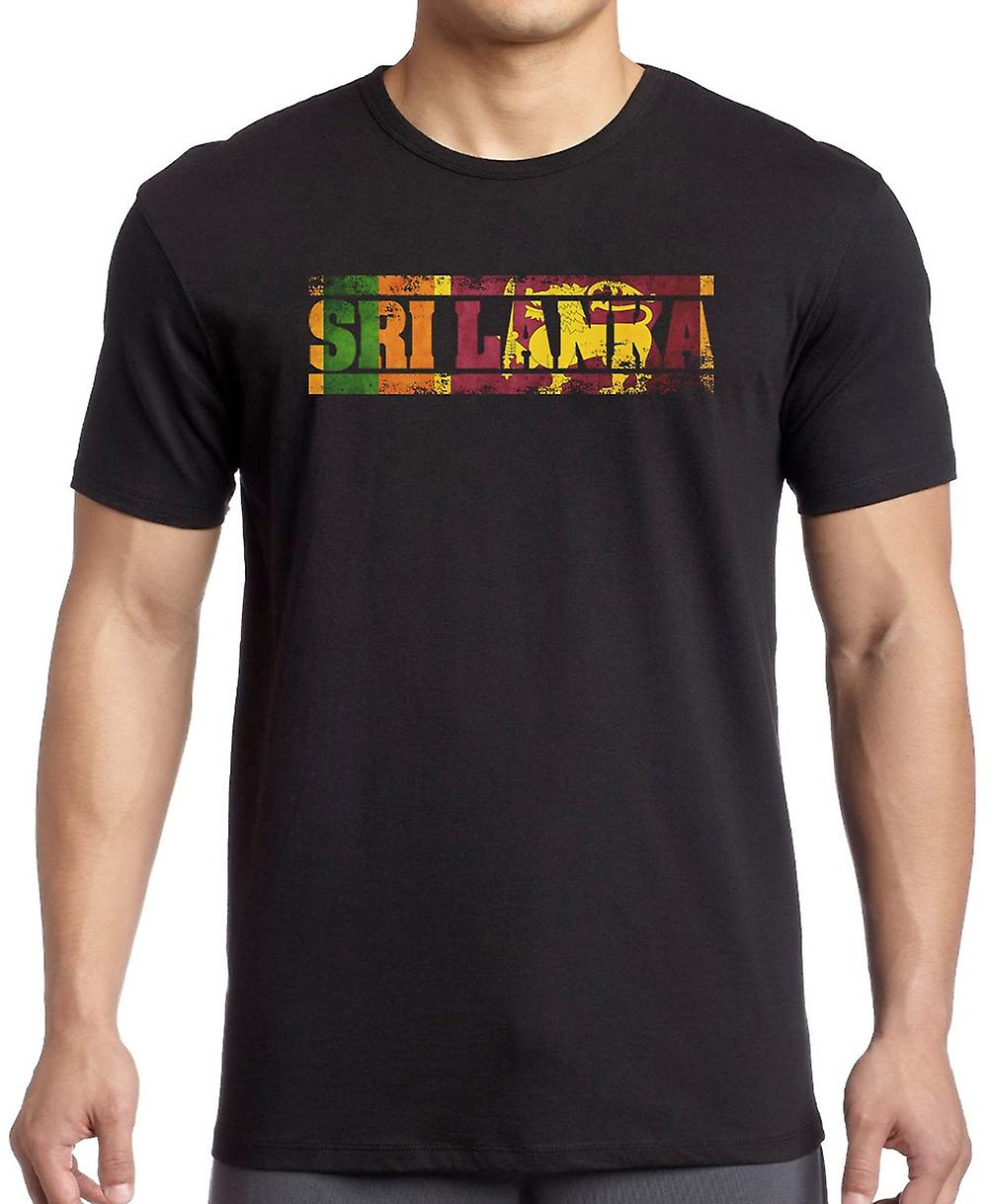 Sri Lanka Flag - Worte T Shirt