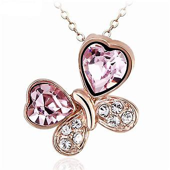 TOC Rose-Goldtone Pink Crystal Butterfly Pendant Necklace 16