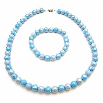 Blue Shaded Beads Jewelry For Girls Gift Flower Girl Necklace Bracelet