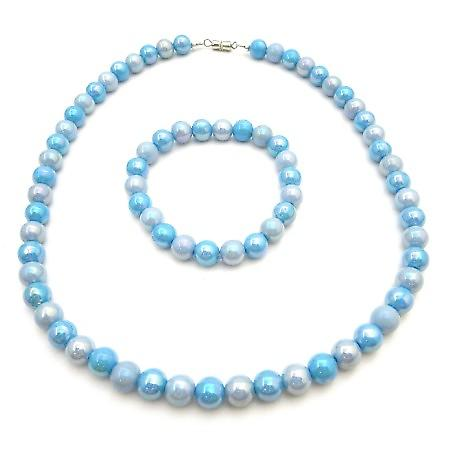 Blue Shaded Beads Jewelry For Girls Gift Flower Girl Necklace Bracelet