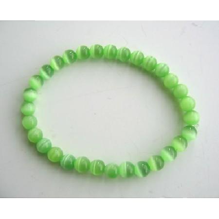 Beaded Stretchable Bracelet Green Cat Eye Beaded Handmade Jewelry