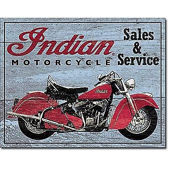 Indian Sales & Service (wood look) Metal Sign    (de)