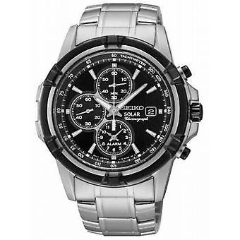 Seiko Mens Black Dial Stainless Steel Solar Power Chronograph SSC147P1 Watch