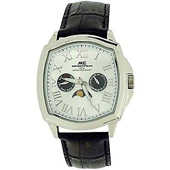 Monocromatico Gents Multi funzione Dial in pelle marrone-nero Strap Watch MON02