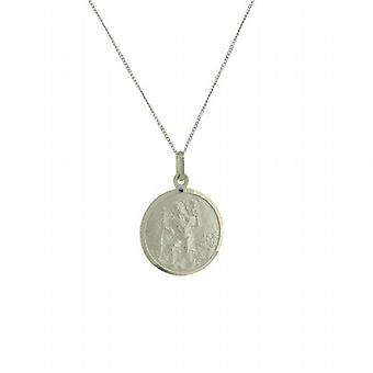 TOC Sterling Silver Small St. Christopher Medal Pendant Necklace 18
