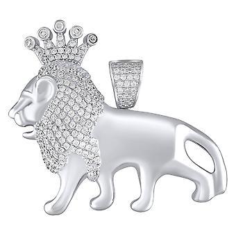 Premium Bling - 925 Sterling Silber KING LION Anhänger