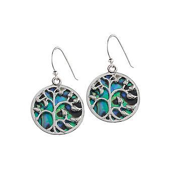 Eternal Collection Mystical Paua Shell Tree Of Life Silver Tone Drop Pierced Earrings