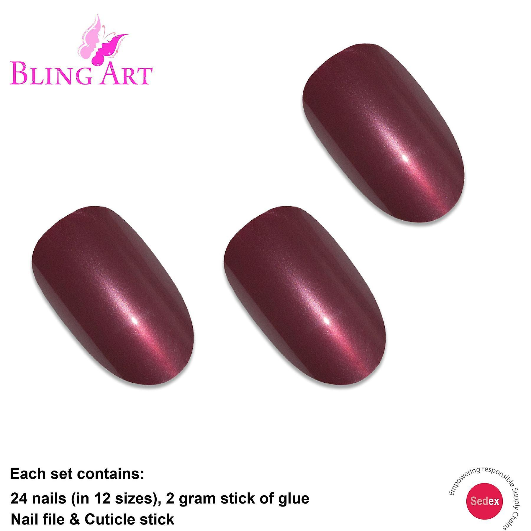 False nails by bling art red brown glitter oval medium  acrylic tips with glue