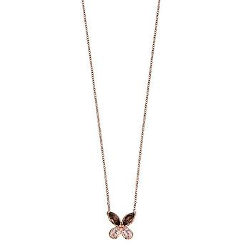 Elements Gold Semi Precious Butterfly Necklace - Pink/Brown/Rose Gold