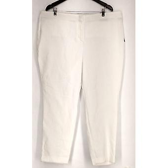 Alfani Plus Pants Jacquard Woven Comfort Waist White Womens