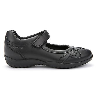 Geox Girls Shadow J54A6A Black School Shoes