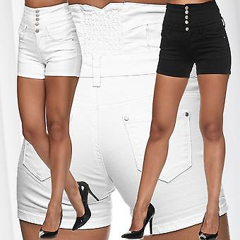 Womens Jeans Shorts High Waist Denim Hot Pants Used Stretch Skinny Trousers