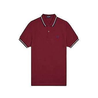 Fred Perry Twin Tipped Polo Camisa Rojo Oscuro