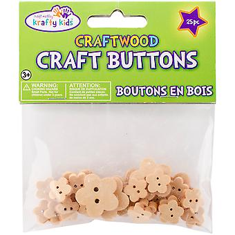 Craft Shaped Natural Buttons 25/Pkg-Flowers CW342-D