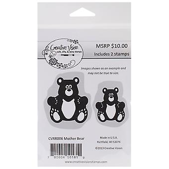 Etch profond rouge Rubber Stamp mère ours Cvrr006