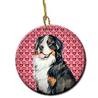 Bernese Mountain Dog Valentine's Love and Hearts Ceramic Ornament