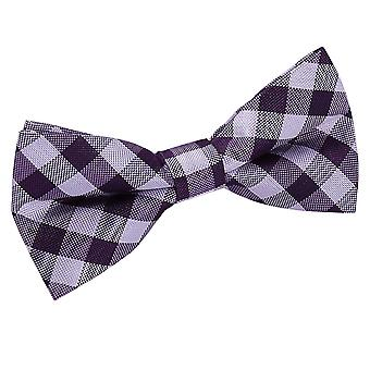 Gingham Check Purple Bow Tie