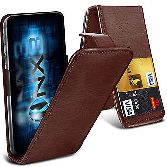 ONX3 (Brown) Lenovo K6 Power Premium PU Leather Universal Spring Clamp Flip Case with Camera Slide and Card Slot Holder