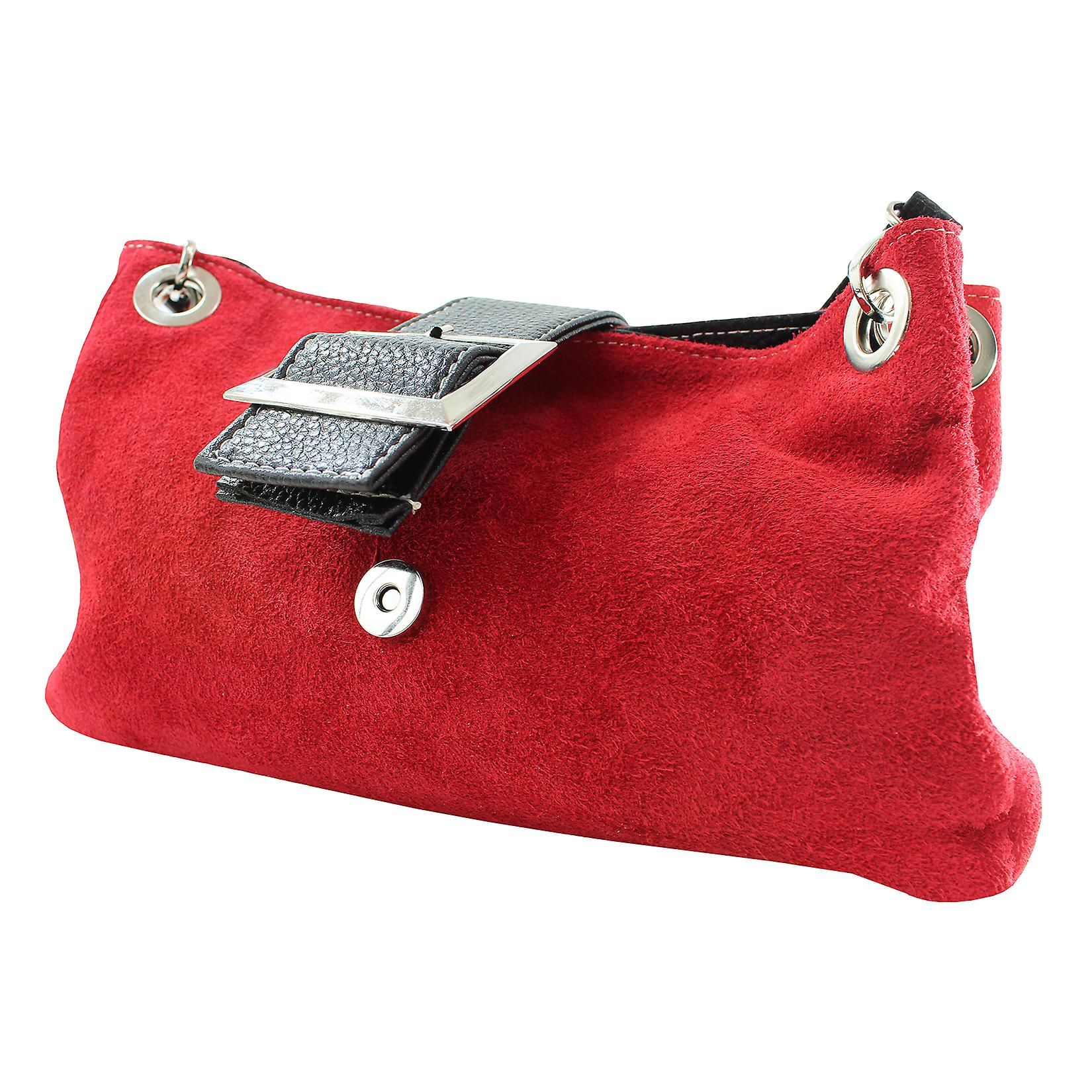 CTM ladies suede leather clutch bag 100% made in Italy