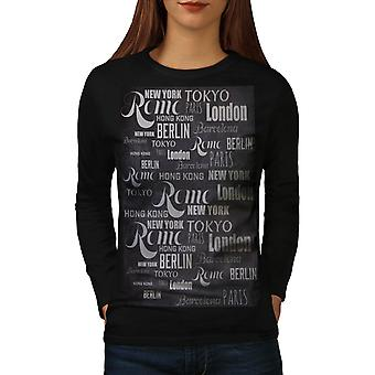 Big City Names Country Capitals Women Black Long Sleeve T-shirt | Wellcoda
