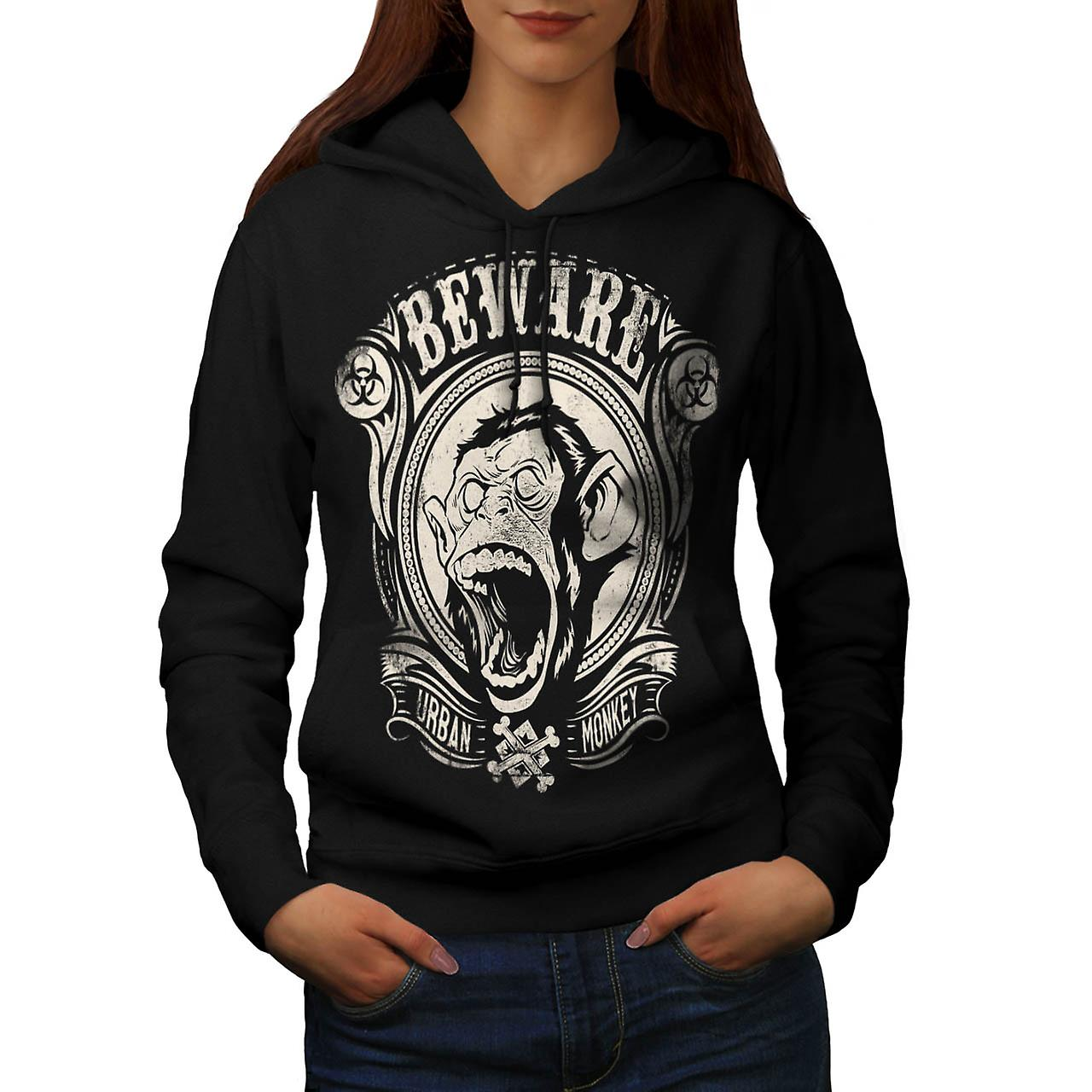 Beware Urban Monkey Danger Chimp Women Black Hoodie | Wellcoda