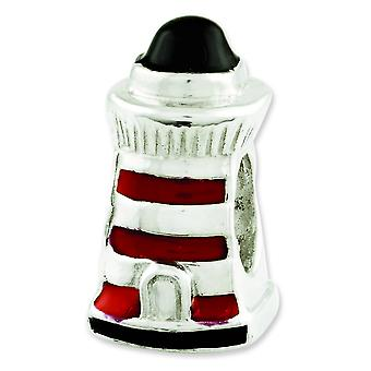 Sterling Silver Polished Antique finish Reflections Enameled Lighthouse Bead Charm