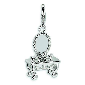 Sterling Silver 3-D Vanity With Lobster Clasp Charm - 3.5 Grams - Measures 32x15mm