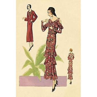 Party Dress con ruches e fiori stampa del manifesto di moda Vintage