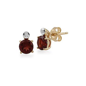 Gemondo 9ct Yellow Gold 1.00ct Garnet & Diamond Round Stud Earrings