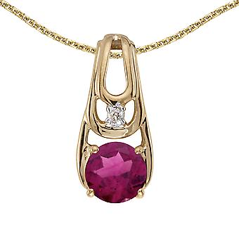 10k Yellow Gold Round Rhodolite Garnet And Diamond Pendant with 16