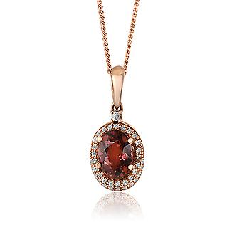 10K Rose Gold Diamond And Tourmaline Pendant (0.2 Cttw, G-H Color, I2-I3 Clarity)