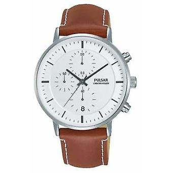Pulsar Gents Brown Leather Watch Chrono PM3077X1