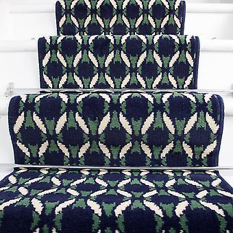 70cm Width - Navy Blue  Green & White Mosiac Stair Carpet