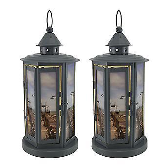 Playa viejo muelle 2 piezas gris Metal LED vela linterna conjunto