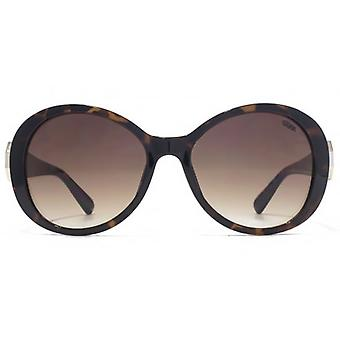SUUNA Evie Hexagon Trim Detail Plastic Sunglasses In Dark Tortoiseshell