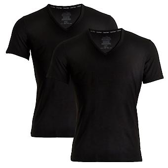 Calvin Klein ID Cotton Short Sleeved Slim Fit V-Neck T-Shirt 2-Pack, Black, X-Large