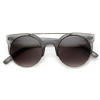 Sonnenbrille Retro Kreis Runde halbe Frame Aviator Bar