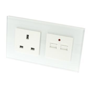 أنا ترف لوموس الزجاج الأبيض 13A المملكة المتحدة & 2.1 a مأخذ USB شاحن مزدوج