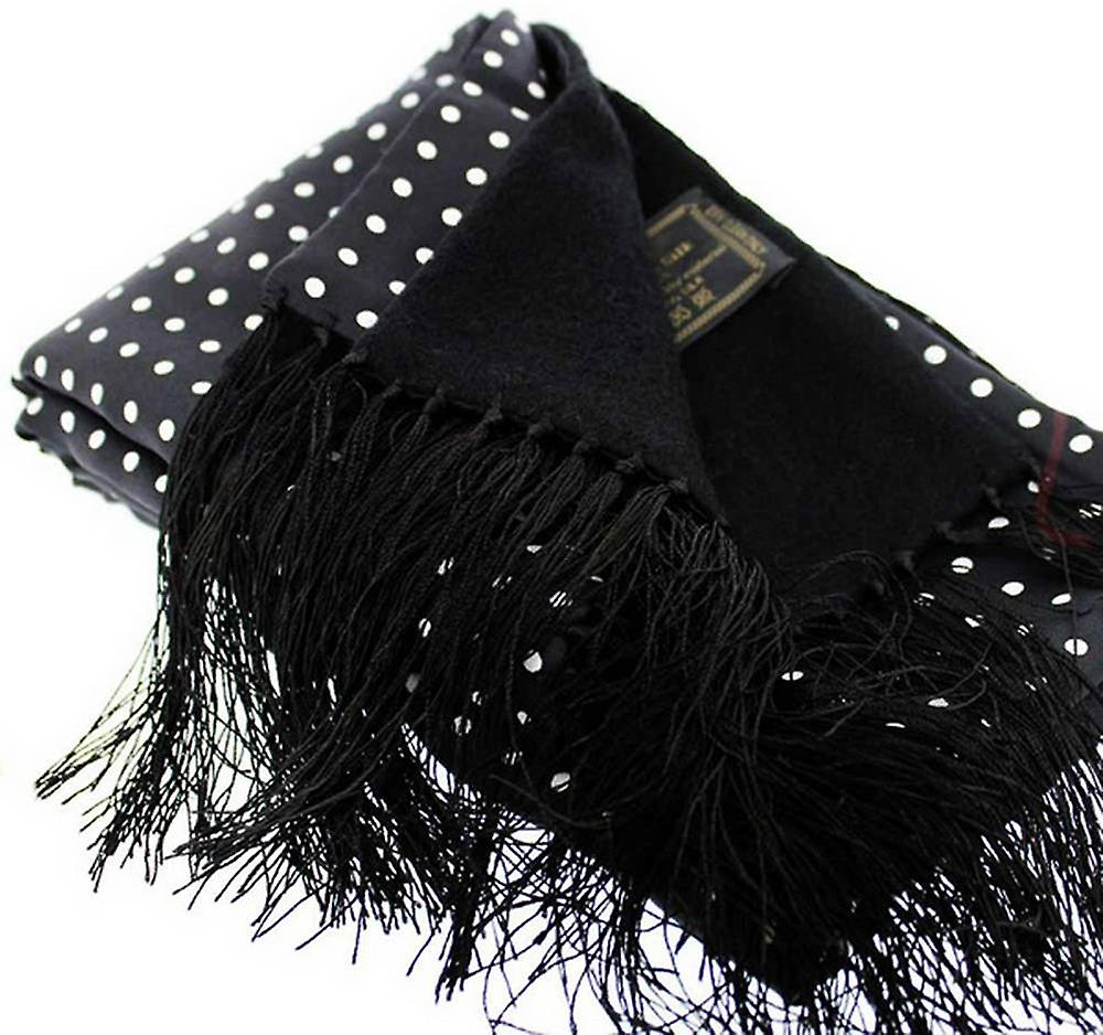David Van Hagen Spotted Silk Scarf - Black