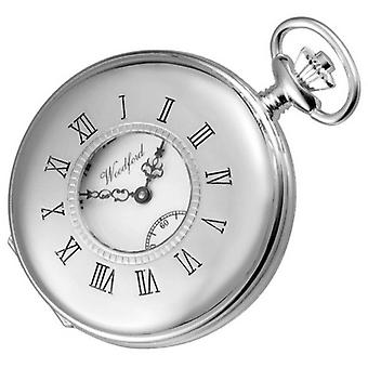 Woodford Sterling Silver Polished Half Hunter Swiss Pocket Watch - Silver