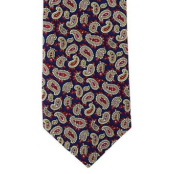 Michelsons of London Traditional Printed Pine Silk Tie - Navy