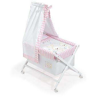 Interbaby Minicuna White With Textile canopied Model Baby Bunny Rosa