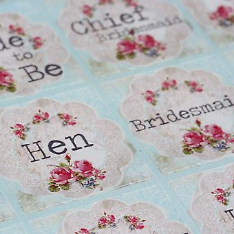 Luck And Luck Vintage Floral Doily Style Hen Party Sticker Sheet x 35