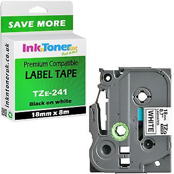 Compatible TZE241 stratifié noir-blanc 18 x 8 cartouche Brother PT-1830 label