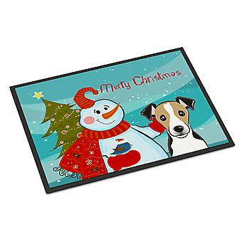 Snowman with Jack Russell Terrier Indoor or Outdoor Mat 18x27